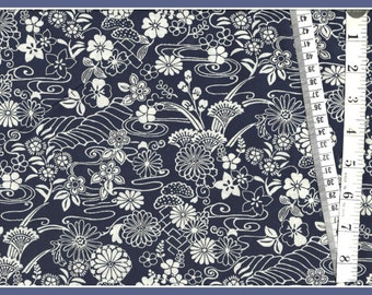 """Cotton Fabric  """"Lotus"""" in Navy  From Timeless Treasures - Navy and White always look so sharp together."""