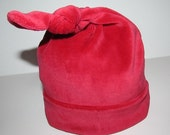 Organic Cotton Velour Santa Red Knotted Hat - 0-6 Months