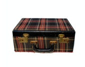 50s Train Case Tartan Plaid Leather Trimmed Large Mirror - BlueRoseRetro