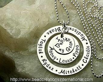 Hand Stamped Necklace  - Nine Names for a Mother or Grandma - Keepsake - Sterling Silver