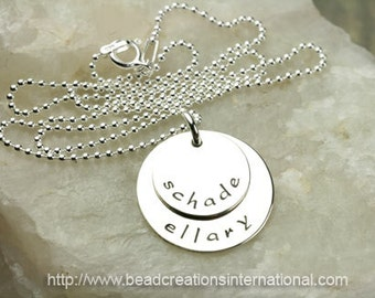 Stacked Sterling Siver Hand Stamped Necklace with 2 Names