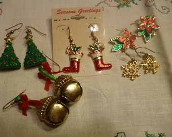 Vintage Christmas Pierced Earring Wardrobe - Jingle Bells, Stockings, Trees, Snowflakes, Poinsettias