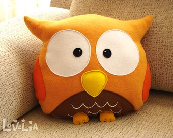 ORANGE OWL CUSHION RainbOWL -Decorative plush pillow -