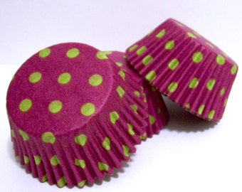 Purple with Lime Dots Cupcake Liners- Choose Set of 50 or 100