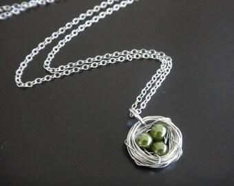 Sage Green Pearl Bird's Nest Necklace