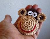 Crochet Monkey Brooch