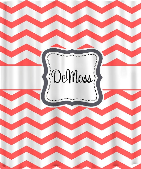 Items Similar To Personalized Shower Curtain Coral And White Chevron Any C
