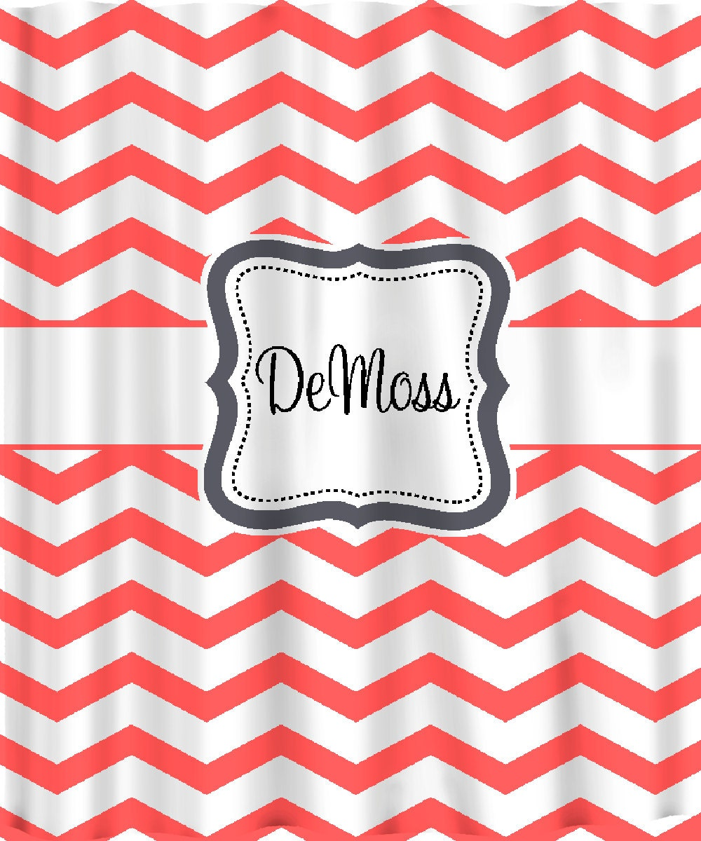 Personalized Shower Curtain Coral And White Chevron Any