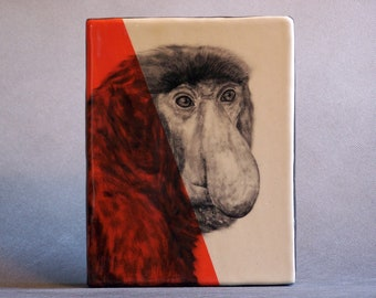 Hand Painted Proboscis Monkey Portrait Wall Tile Orange
