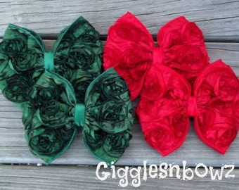 CHRiSTMaS CoLLeCTiON- Set of Four ReD and EMeRaLD Satin ROSeTTe RiBBoN BoWS- 4 inch