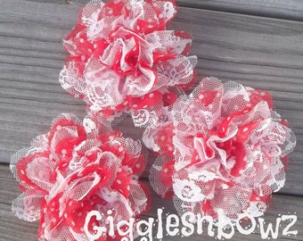 SALE!! SWeeTHeART DoTS w WHiTE LaCE- Set of 3 Gorgeous Shabby Chic Frayed Chiffon and Lace Rose Flowers- 3.5 inch
