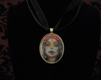 Pastel sugar skull cameo necklace