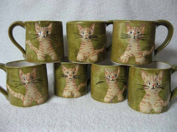 Right handed Cat with Attitude Cup Handmade Stoneware Pottery