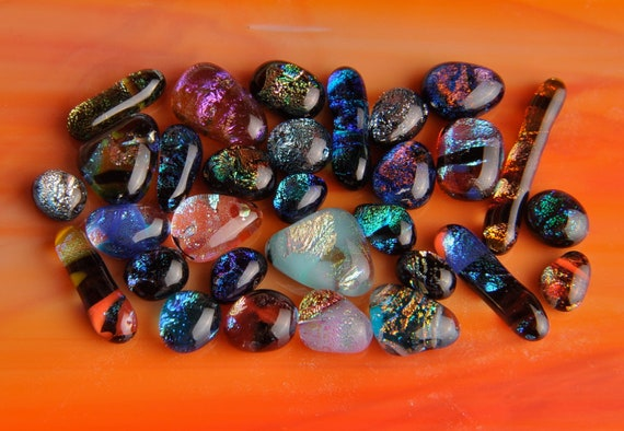 30 LOT Handmade Dichroic Fused Glass Cabs Cabochons Beads