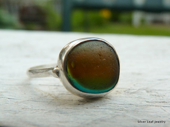 SHROUDED Natural Sea Glass Ring - Dark English Multi - Sterling Silver - Size 8-1/2