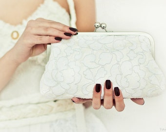 Timeless Bride...Off White Lace and Ivory Dupioni Silk Large Size Purse Something Blue Ready To Ship UK  Seller