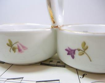 Rare double open salt / Meissen mark / flowers and butterflies / gold trim / salt cellar / Spring brunch / Pretty / mothers day