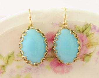 Aqua Blue Scallop Earrings - Vintage Jewel Gold Lace Scallop Setting Gold Plated Dangle Earrings - Wedding, Bridal, Bridesmaid Earrings