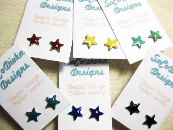 Star Earrings, Vintage Star Earrings, Enamel Star Earrings, Colorful Star Earrings, Your Choice of Colors