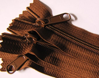 SALE - Five medium brown 12 inch YKK Handbag Purse zippers with long pull - YKK pumpernickel color 859