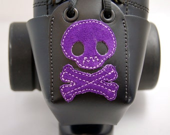 Leather Toe Guards with Purple Suede Skulls and Crossbones