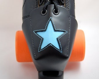 DA-45 Leather Toe Guards with Light Blue Stars