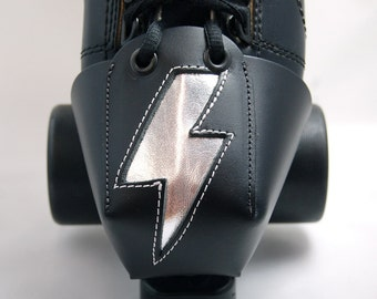 Leather Skate Toe Guards with Silver Lightning Bolts OR Choose Your Own Color!