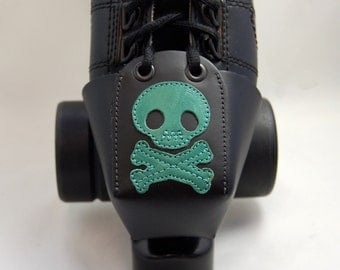 Leather Skate Toe Guards with Teal Skull and Crossbones