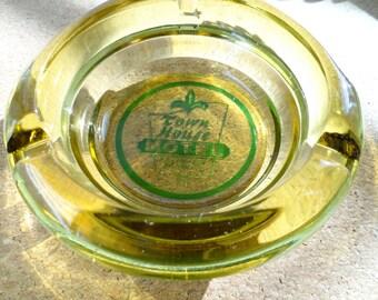 Authentic Vintage Town House Motel Portland Oregon Round Retro Design Amber Glass Ashtray