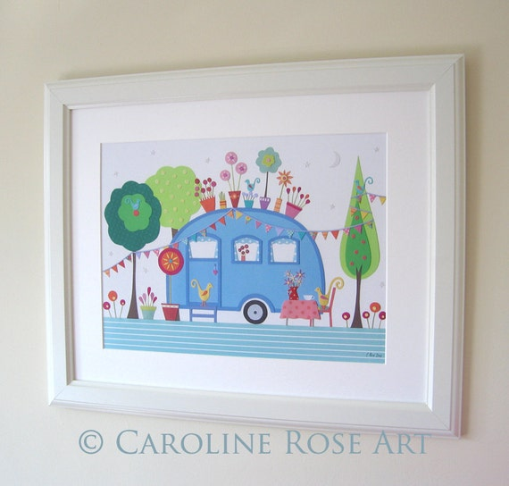 Settle - A3 art PRINT - Retro Caravan