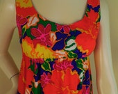 Vintage Pomare Tahiti Hawaiian Mini Dress MuuMuu 60s