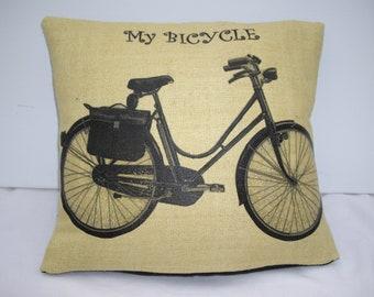 My Bicycle Cushion in Yellow & Black