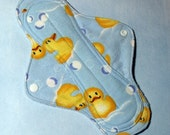 Mama Cloth Reusable Sanitary Menstrual Sanitary Pad with PUL liner rubber ducks rubber duckies on blue - size SMALL to MEDIUM