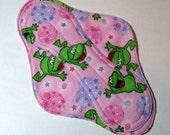 Menstrual Cloth Mama Cloth Mama Pad Reusable Sanitary Pad pink lavender frogs - size L/L Plus