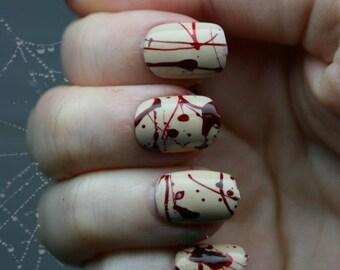 Splatter. Gothic Fake Nails, Horror, Goth, Creepy, Blood, Halloween, Short Fake Nails, False Nails Set, Press On Nails, Cosplay, Zombie