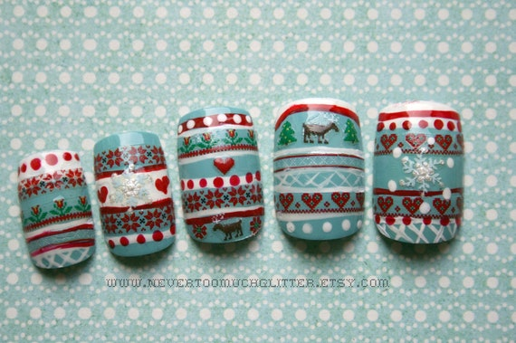 Holiday Press On Nails- Nordic Sweater-Fake nails