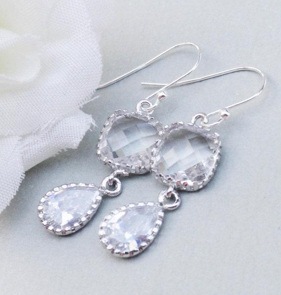 Wedding Earrings Crystal Drop Bridal Earrings Sterling Silver  Antique Inspired Vintage Wedding