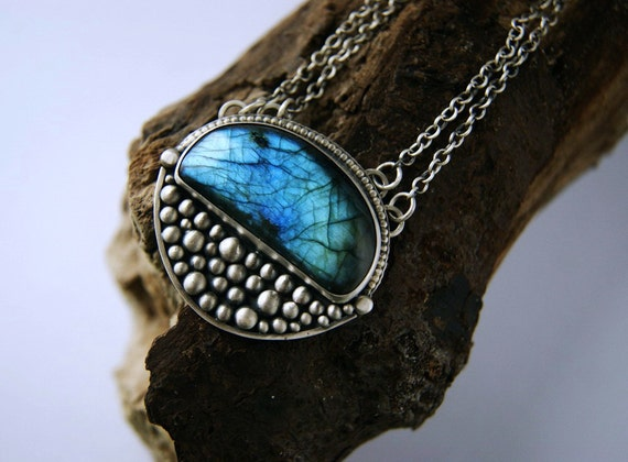 Reserved (Balance) - The Low Night Moon - Labradorite Sterling Silver Necklace