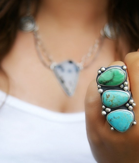 Reserved (Balance)- Bubbles of Life - Turquoise and Variscite Sterling Silver Ring