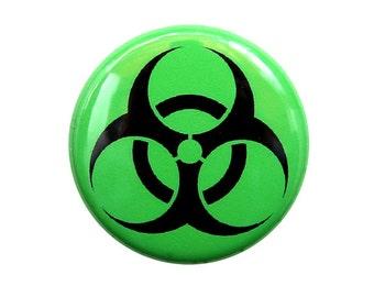 Biohazard Symbol - Button Pinback Badge 1 inch Green