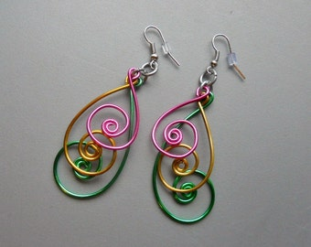 3 inch Peacock Pink Green Gold Aluminum Wire Earrings