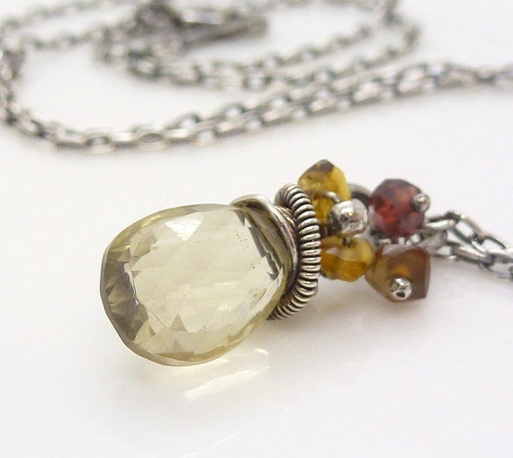 Champagne necklace. Golden brown garnet necklace. Wire wrapped sterling silver jewelry. Champagne quartz necklace