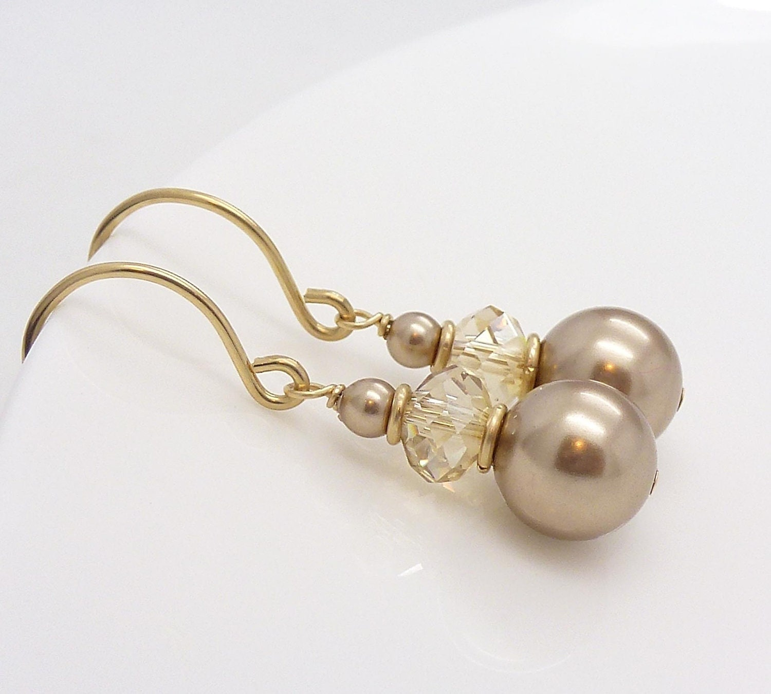 Gold champagne earrings champagne pearl earrings gold pearl for Jewelry for champagne wedding dress