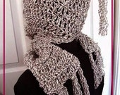 INSTANT DOWNLOAD Crochet Pattern PDF 201-Hooded Scarf for Beginners-make it any size- Permission to sell your finished items.