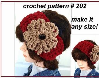 INSTANT DOWNLOAD Crochet Pattern PDF 202 -Tie on Crochet Headband and Flower Pattern. Make it any size