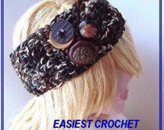 INSTANT DOWNLOAD Crochet Pattern PDF  215 Easiest Headband In The World -Make it any size.