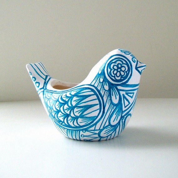 Ceramic Bird Vase  Blue White Folk Art Planter Home Decor Painted Tattoo Aqua Turquoise - Ready to ship