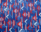Blue and Red Geometric Funky 1970s Vintage Fabric