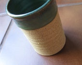 Create Your Own Cozy--Teal and Bare Clay Handleless Mug with Drip