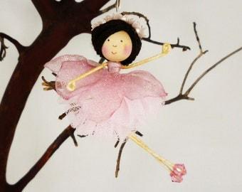 Dusty Rose Flower Ballerina Ornament, Miniature Dancer Doll, Ballerina Gift, Girl Dancer, Little Girl Gift, Pink Christmas Fairy, Petalbelle